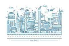 Мегаполис, большая городская жизнь, иллюстрация искусства линии контура Стоковые Изображения RF