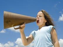 мегафон девушки Стоковая Фотография RF