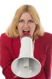 мегафон дела используя женщину Стоковая Фотография RF