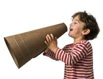мегафон мальчика Стоковая Фотография