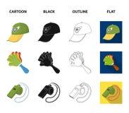 Мегафон, свисток и другие атрибуты вентиляторов Вентиляторы установили значки собрания в шарже, черноте, плане, плоском векторе с иллюстрация штока