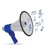 Мегафон, witth, музыка, изолированные примечания, вектор, иллюстрация Стоковые Изображения RF