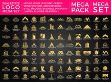 Мега комплект и большой дизайн вектора логотипа группы, недвижимости, здания и конструкции иллюстрация вектора