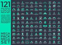 Мега комплект и большой дизайн вектора логотипа группы, недвижимости, здания и конструкции бесплатная иллюстрация
