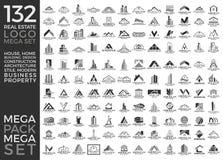 Мега комплект и большой дизайн вектора логотипа группы, недвижимости, здания и конструкции иллюстрация штока