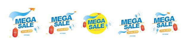 Мега продажа 50  Установите дизайна шаблона эмблем Самолет громкоговорителя и бумаги с особенным предложением r иллюстрация вектора