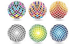 Мега собрание логотипов круга сферы, глобальной деловой компании элементов и абстрактной корпорации округлило вектор символа знач Стоковая Фотография