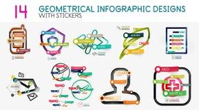 Мега собрание шаблона диаграммы infographics вектора цифрового с стикерами Стоковое Изображение