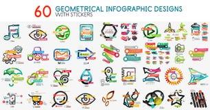 Мега собрание шаблона диаграммы infographics вектора цифрового с стикерами Стоковые Фото