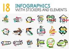 Мега собрание шаблона диаграммы infographics вектора цифрового с стикерами Стоковые Изображения RF