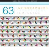 Мега собрание шаблонов infographic цвета геометрических или сети знамени с текстом варианта abc образца Стоковое Изображение RF