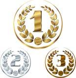 Медали - награды установили с лаврами в круге иллюстрация вектора