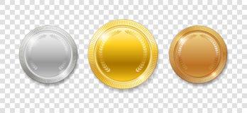 Медали награды чемпиона для приза победителя спорта Комплект реалистического 3d опорожняет изолированные золото, серебр и бронзов Стоковое Изображение