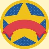 Медаль при звезда и красный шаблон ленты изолированные на желтом цвете Стоковое фото RF