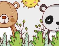 Медведи в шаржах doodle леса Стоковая Фотография RF