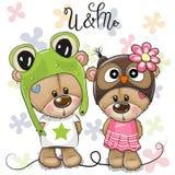 Медведи мальчик и девушка поздравительной открытки на предпосылке цветков бесплатная иллюстрация