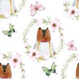 Медведь безшовной картины милый в венке для упаковки, ткани цветка печати Изображение акварели нарисованное рукой совершенное в с бесплатная иллюстрация