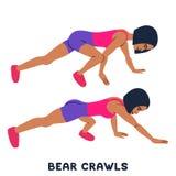 Медведь вползает Exersice спорта Силуэты женщины делая тренировку Разминка, тренируя иллюстрация штока