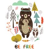Медведь в скандинавской иллюстрации вектора стиля, eps иллюстрация штока
