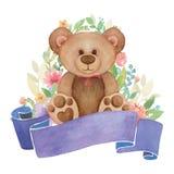 Медведь игрушки акварели с оформлением и знаменем цветка Стоковые Фото