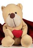 медведь над valentines белыми Стоковые Фото