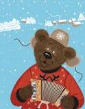 Медведь с аккордеоном Стоковые Изображения RF
