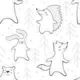 Медведь танцев, лиса, зайчик, еж в картине младенца леса безшовной Милое животное слушает музыку с елью бесплатная иллюстрация
