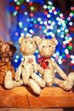 Медведь tilda 2 handmade Провансаль забавляется на загоренном праздничном bac стоковое фото rf
