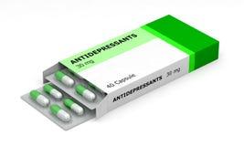 Медицина антидепрессанта дает наркотики коробке Стоковое Изображение