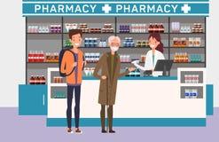 Медицина людей покупая на аптеке Медицинская тема стоковое изображение