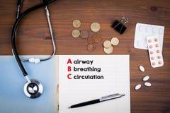 Медицина ABC Авиалиния, дышать и циркуляция стоковая фотография rf