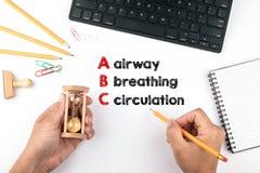 Медицина ABC Авиалиния, дышать и циркуляция стоковое изображение rf