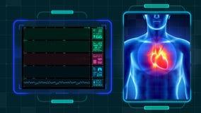 Медицинская предпосылка анимации Hud и сердца иллюстрация вектора