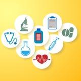 Медицинская предпосылка, круглые медицинские значки на желтой предпосылке иллюстрация штока