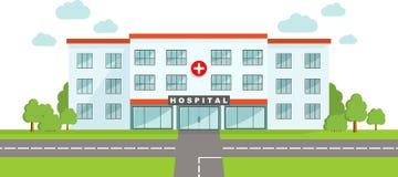 МЕДИЦИНСКАЯ принципиальная схема Панорамная предпосылка с зданием больницы в плоском стиле Стоковое Изображение RF