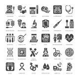 Медицинская проверка вверх, плоские значки глифа Оборудование диагностик здоровья - mri, томография, glucometer, стетоскоп, кровь бесплатная иллюстрация