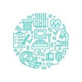 Медицинская проверка вверх по шаблону плаката Vector плоская линия значки, иллюстрация медицинского центра, оборудования здравоох Стоковые Фотографии RF