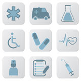 Медицинские голубые иконы Стоковые Изображения RF