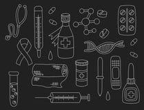 Медицинский комплект вектора значков doodle Стоковое фото RF
