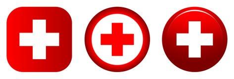 Медицинский красный цвет значка плюс символ бесплатная иллюстрация