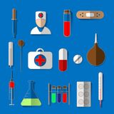 Медицинский набор символов стиль дизайна lat Медицинские символы иллюстрация штока