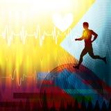 Медицинский cardiogram бегуна съемка микстуры стационара предпосылки иллюстрация штока