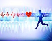 Медицинский cardiogram бегуна съемка микстуры стационара предпосылки иллюстрация вектора
