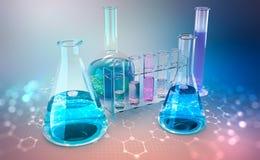 медицинское исследование микробиология Исследование химического строения клеток иллюстрация штока