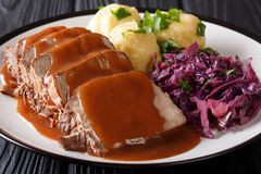 Медленное жаркое бака Sauerbraten плитаа с пряным соусом, dumpl картошки стоковое фото rf
