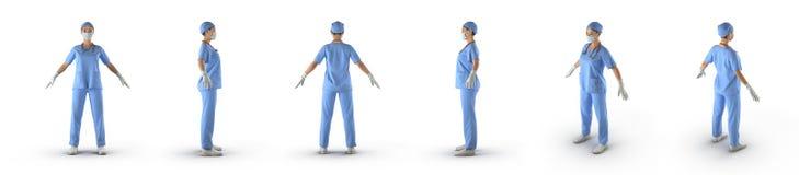 Медсестра или молодой доктор стоя полностью тело представляют комплект от различных углов на белой предпосылке иллюстрация 3d Стоковые Изображения