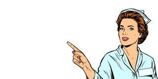 Медсестра указывает палец бесплатная иллюстрация