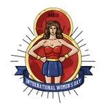 Международная поздравительная открытка дня женщин s с иллюстрацией женщины иллюстрация штока