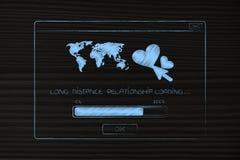 Международное отношение всплывающее с lovehearts и worldmap w Стоковое Фото