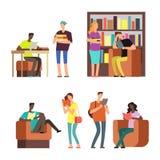 Международные книги и кассеты чтения студентов vector иллюстрация Стоковая Фотография RF